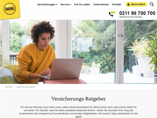 Content Marketing Versicherungen ARAG