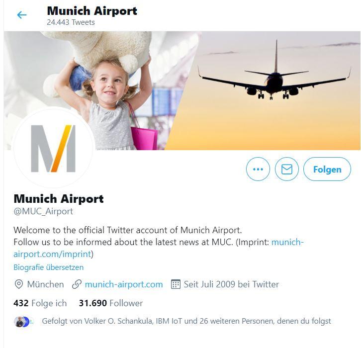 Flughafen München social Media