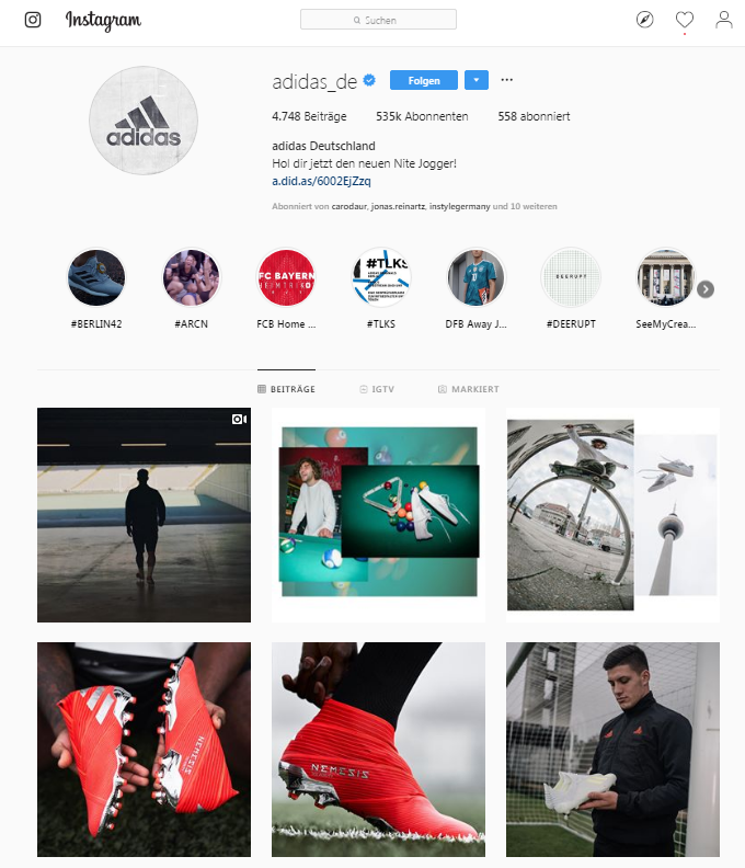 Instagram Marketing_Adidas Bilderwelt