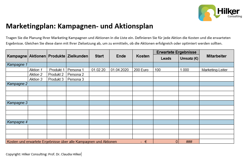 Marketingplan Kampagnen Aktionsplan_Claudia Hilker