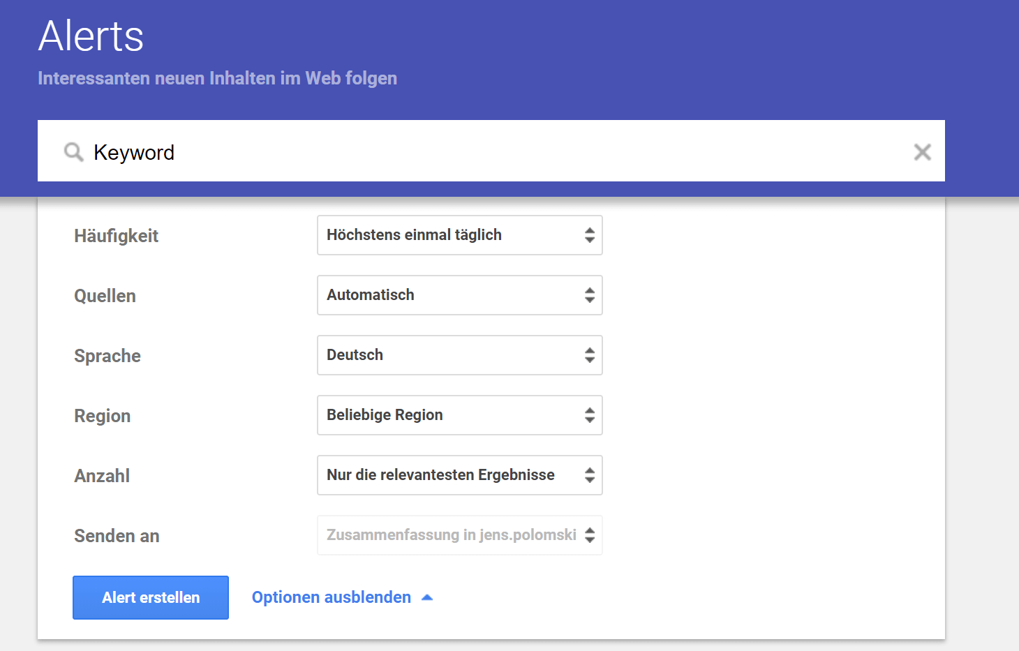 Google Alerts Social Media Monitoring Tool