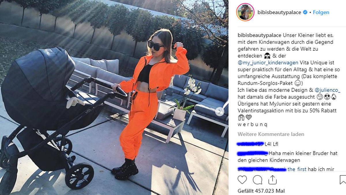 Screenshot von YouTuberin Bibi mit ihrem Kind im Kinderwagen. Sie nutzt den Instagram Post für ihr Influencer Marketing.